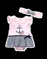 Nautica Two-Piece Anchor Skirted Bodysuit & Headband Set - 3-6mos & 6-9mos