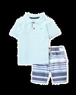 Nautica Two-Piece Polo & Stripe Shorts Set - 12mos