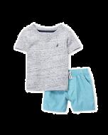 Nautica Two-Piece Grey V-Neck Tee & Shorts Set - 12mos