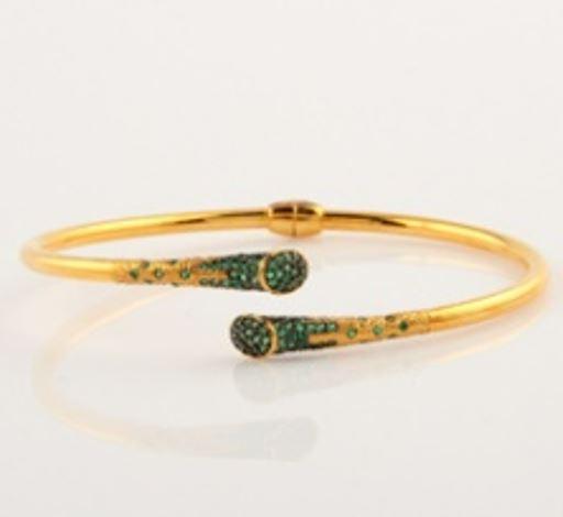 ASG Bangle  with Green Quartz Stones