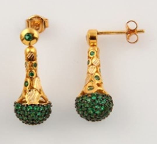 ASG Earrings with Green Quartz Beads Stones