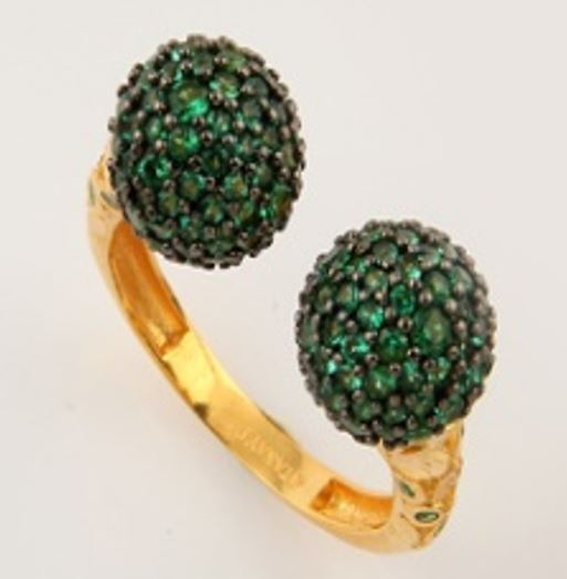 ASG Ring with Green Quartz Stones