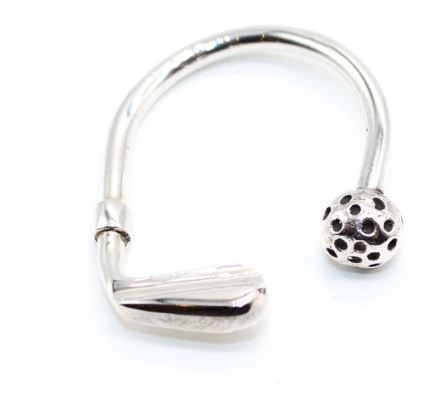 Pure Silver Key ring Golf- Oval