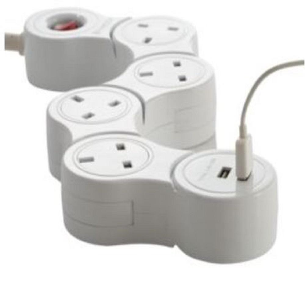توصيلة كهربائية 4 مقابس 3متر 2usb