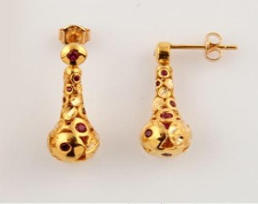 ASG Earrings with Garnet Beads