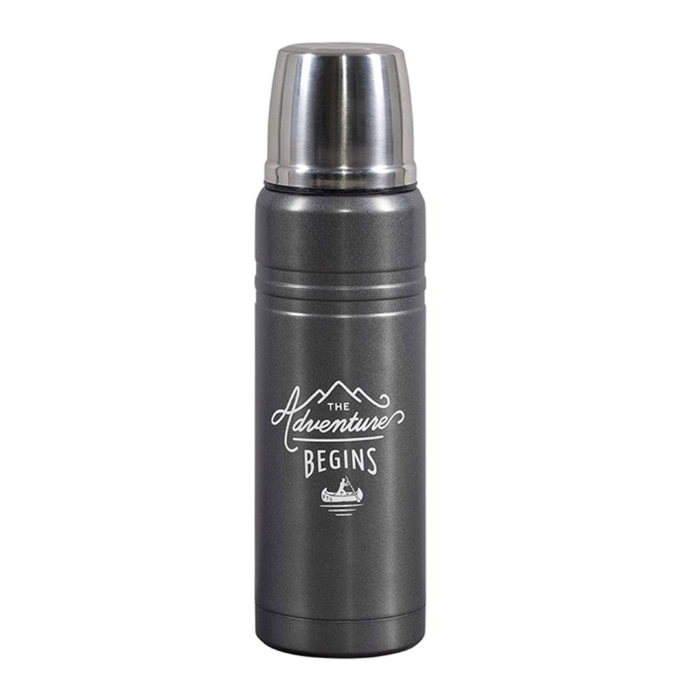 Gentlemen's Hardware Double Wall Travel Thermos Flask Black and Steel