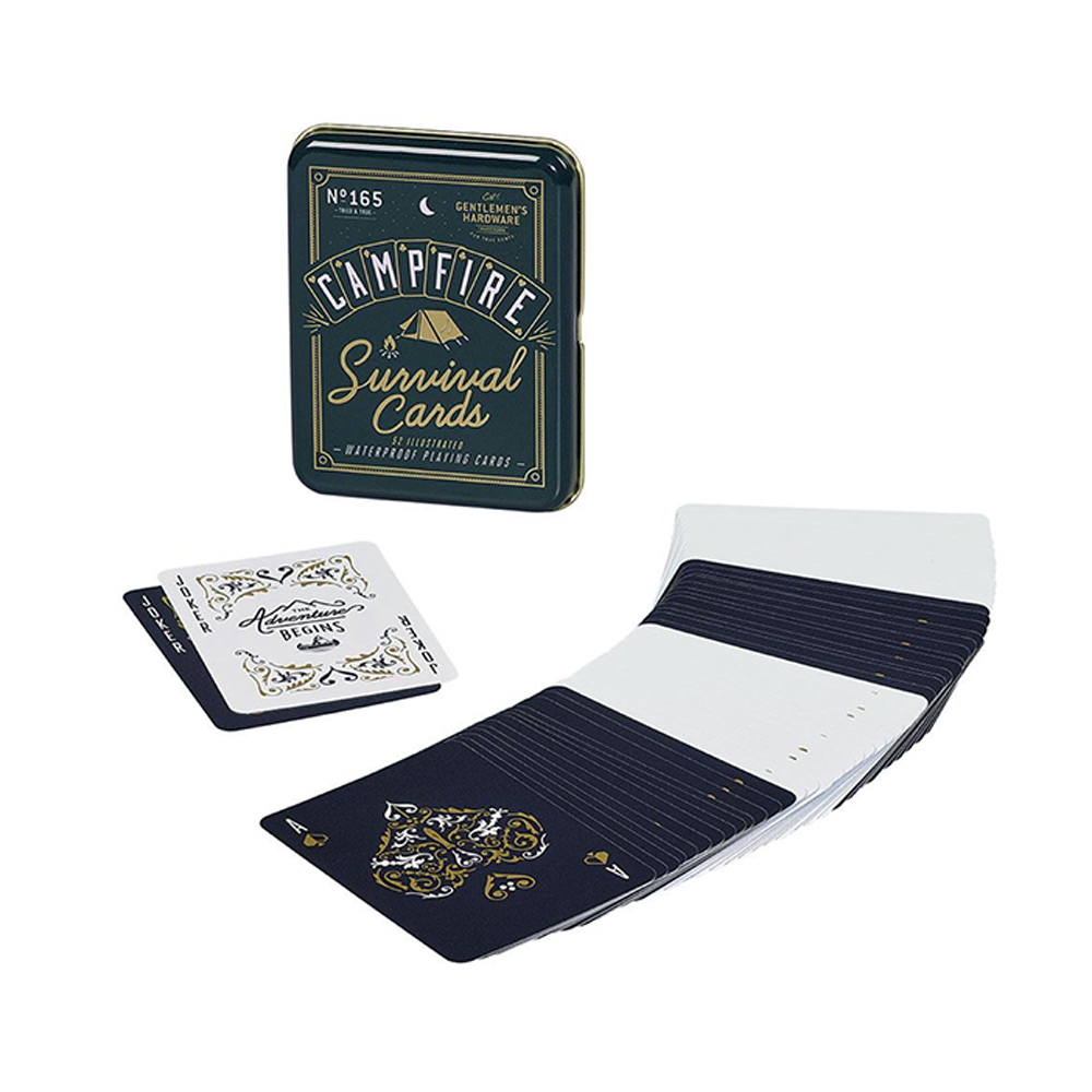 Gentlemen's Hardware Campfire Survival Playing Cards Black and Gold