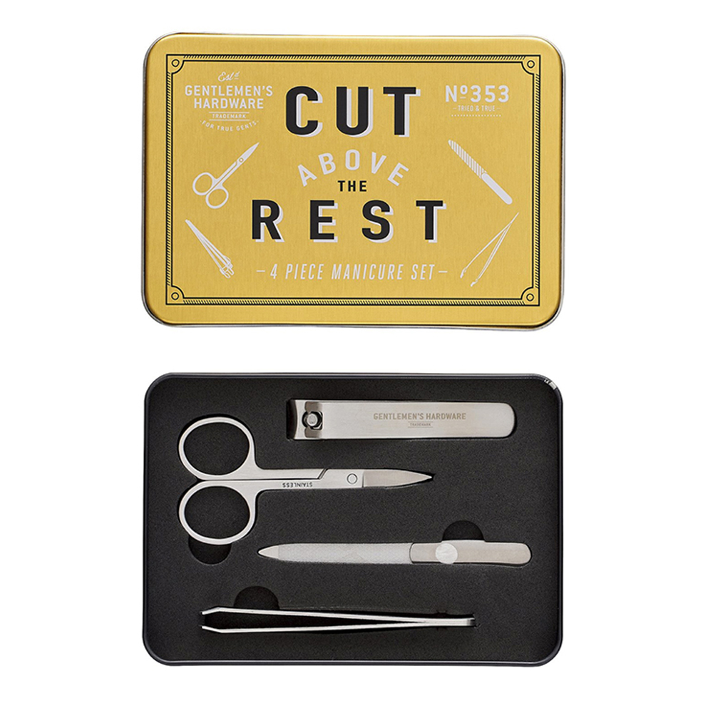 Gentlemen's Hardware Manicure Tin Gold and Silver
