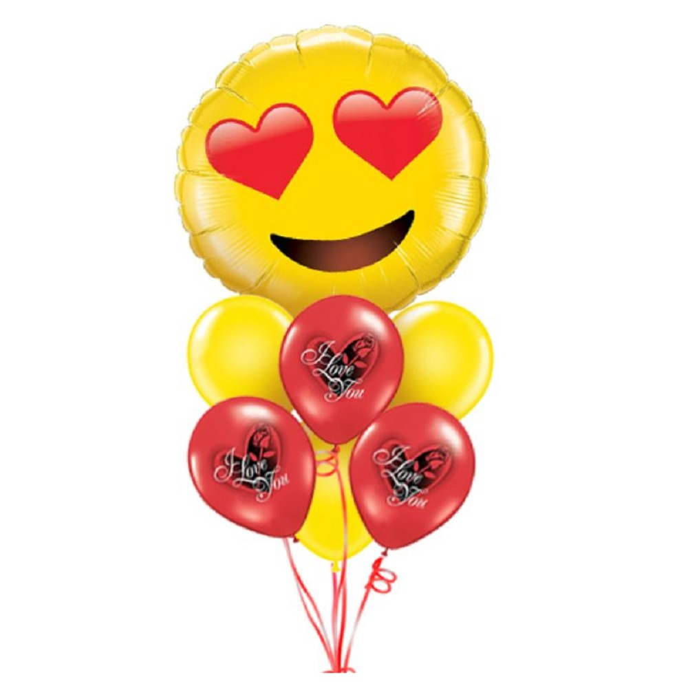 Giant Smiley I Love You Balloon Bouquet