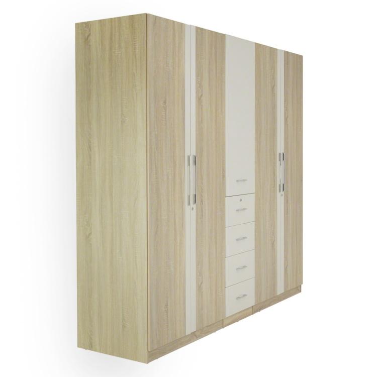 Hayden 5-Door Wardrobe with Mirror - High Gloss Cream/Light Oak