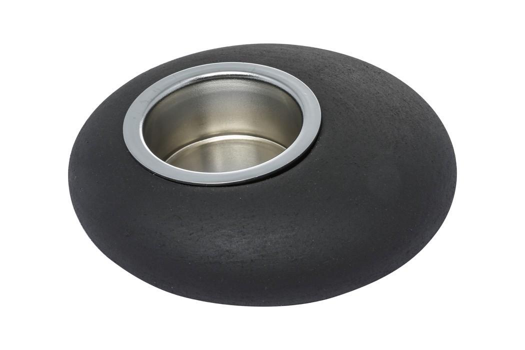 Pebble Tea Light Holder - 12.5x12.5x3.5 Black
