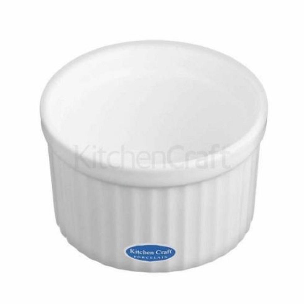 KitchenCraft White Porcelain Fluted Ramekin, 9cm