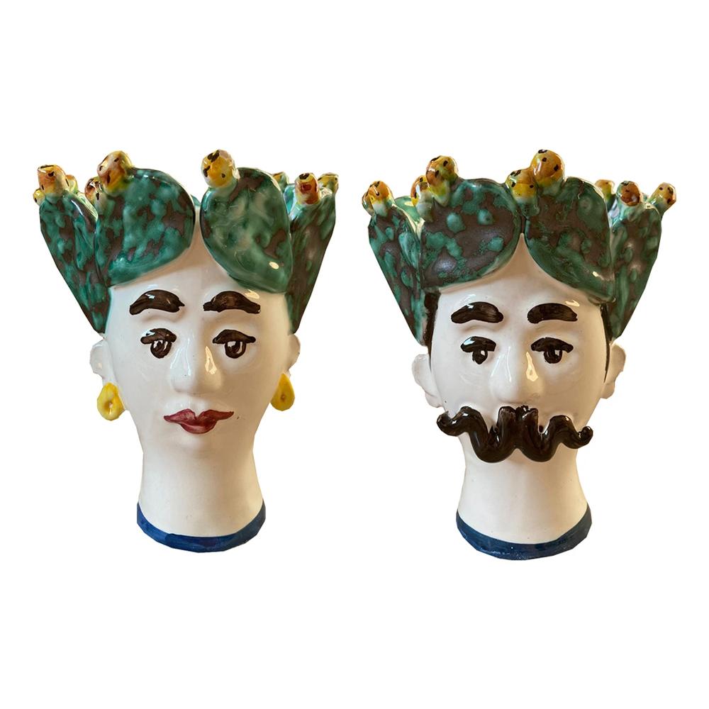Les Ottomans Sicily Cactus Porcelain Vase - Set of 2