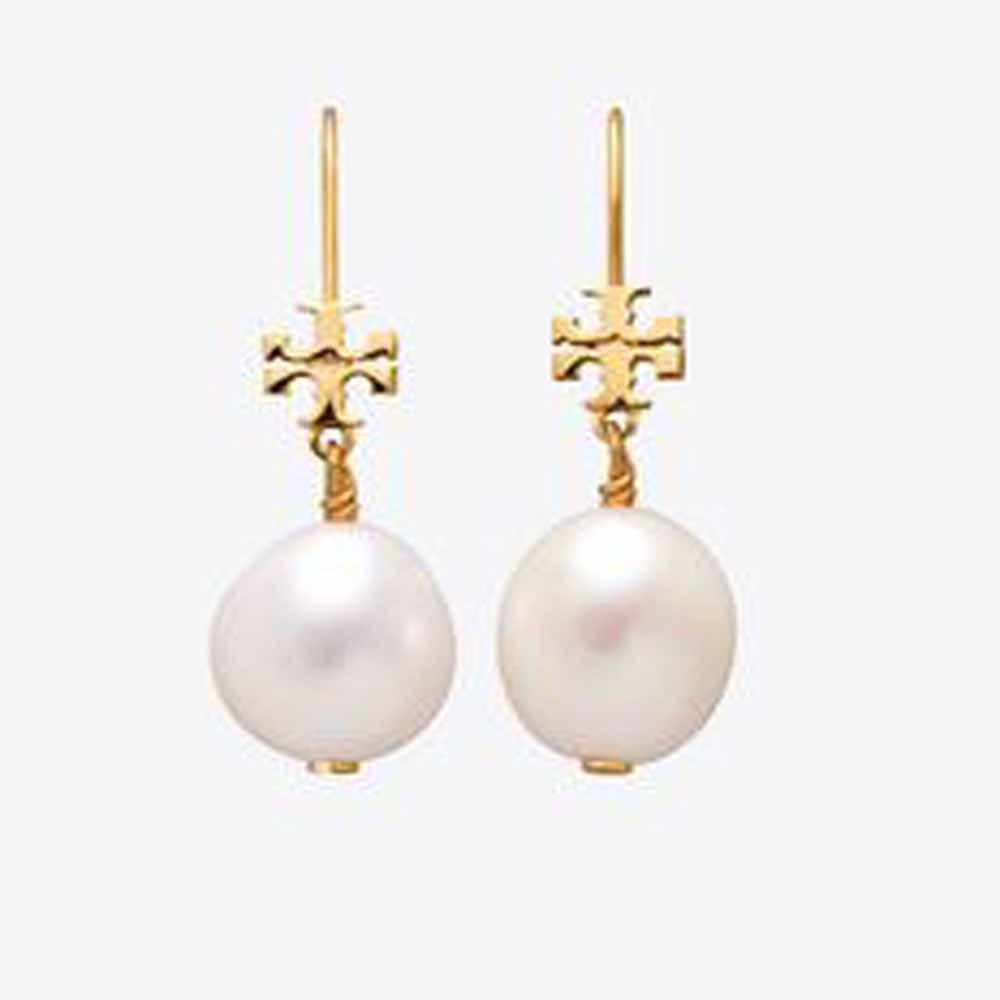 Logo Pearl Drop Earring