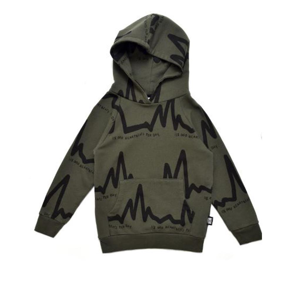 Heartbeat hoodie - mud green