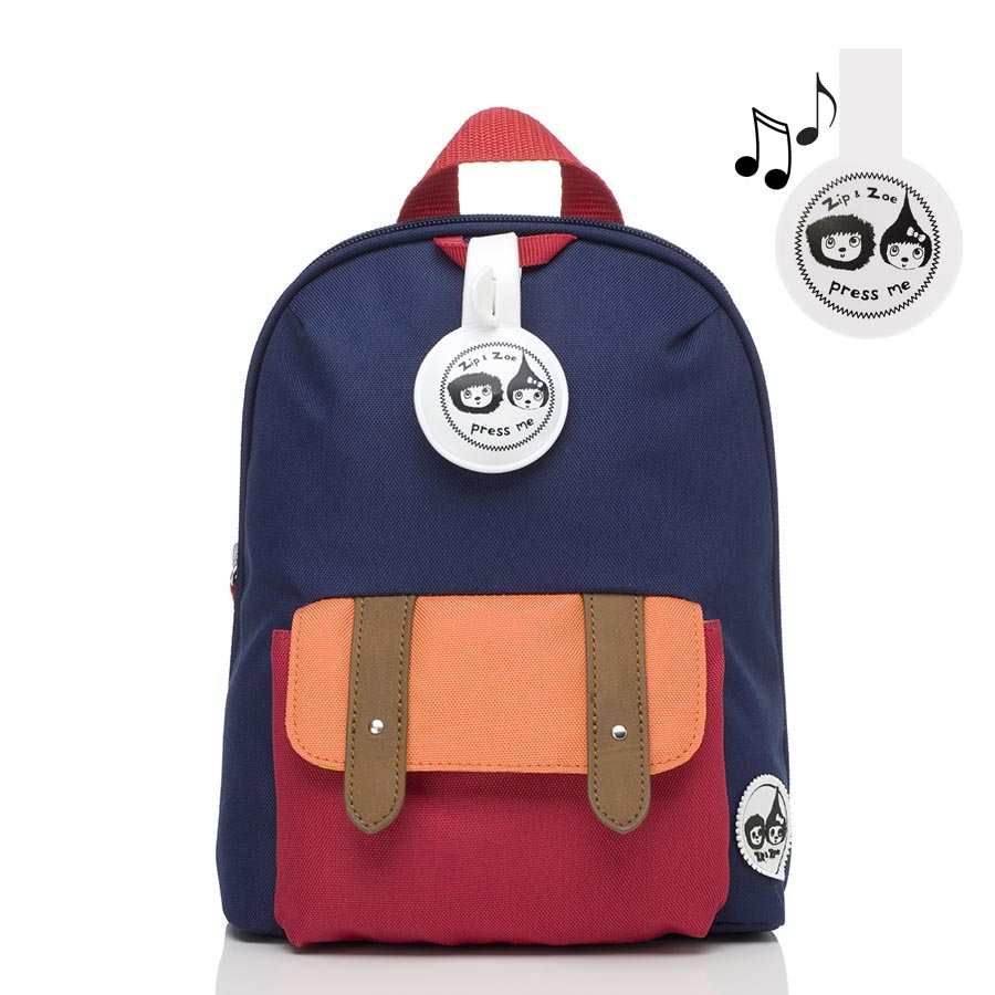 Zip and Zoe Mini Backpack+ Safety Harness (1-4Y) Navy Colour Block