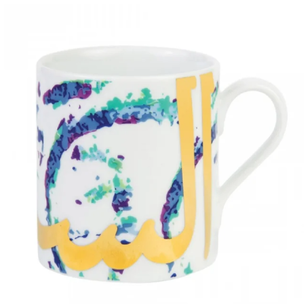 Silsal Fairuz Mug Peacock Tones with Gold on White