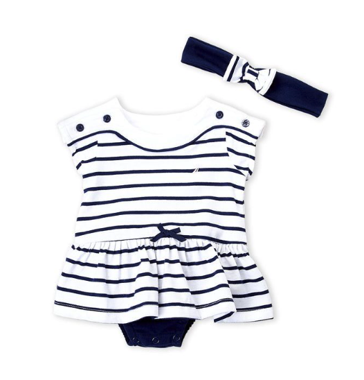 Two-Piece Stripe Skirted Bodysuit & Headband Set