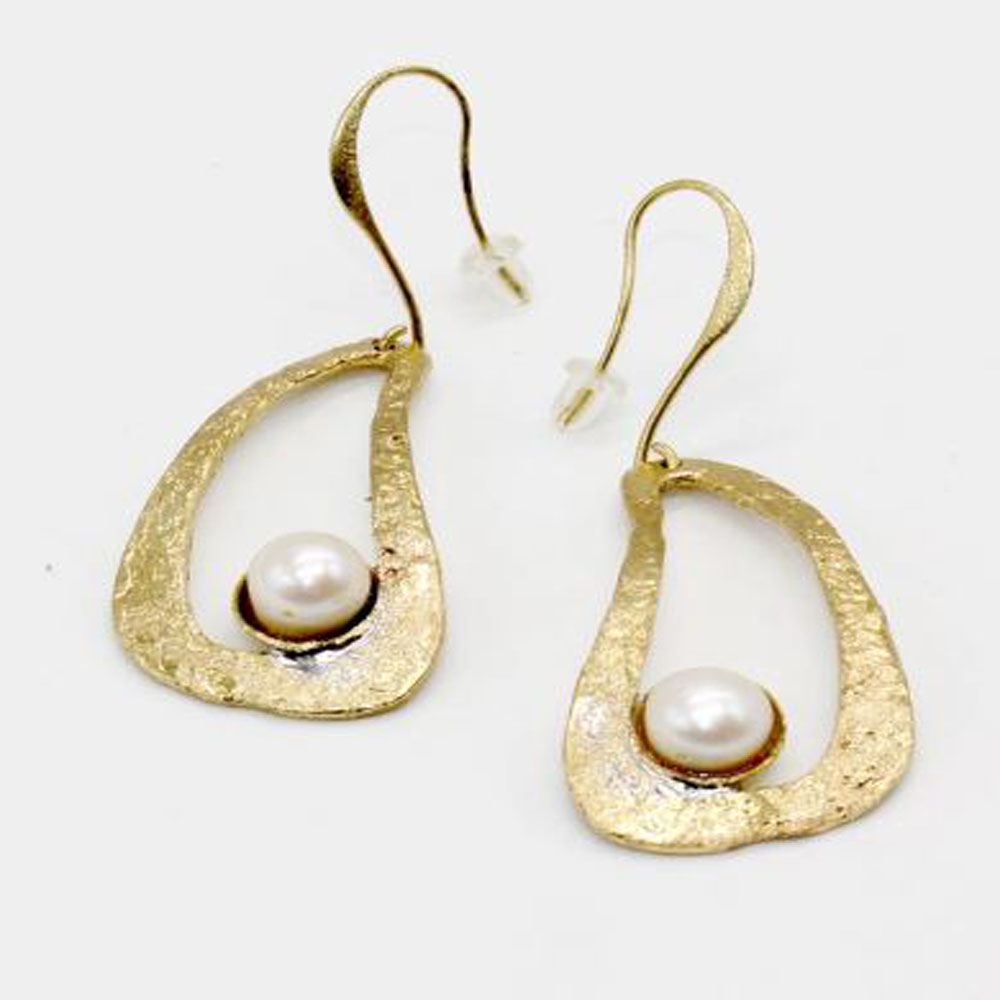 Solid Bronze Earrings with Pearl