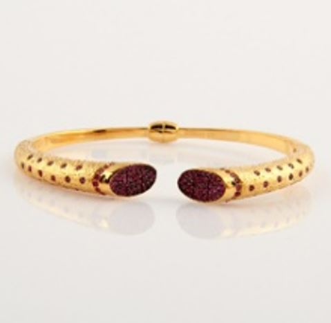 ASG Bangles With Garnet Beads Stones
