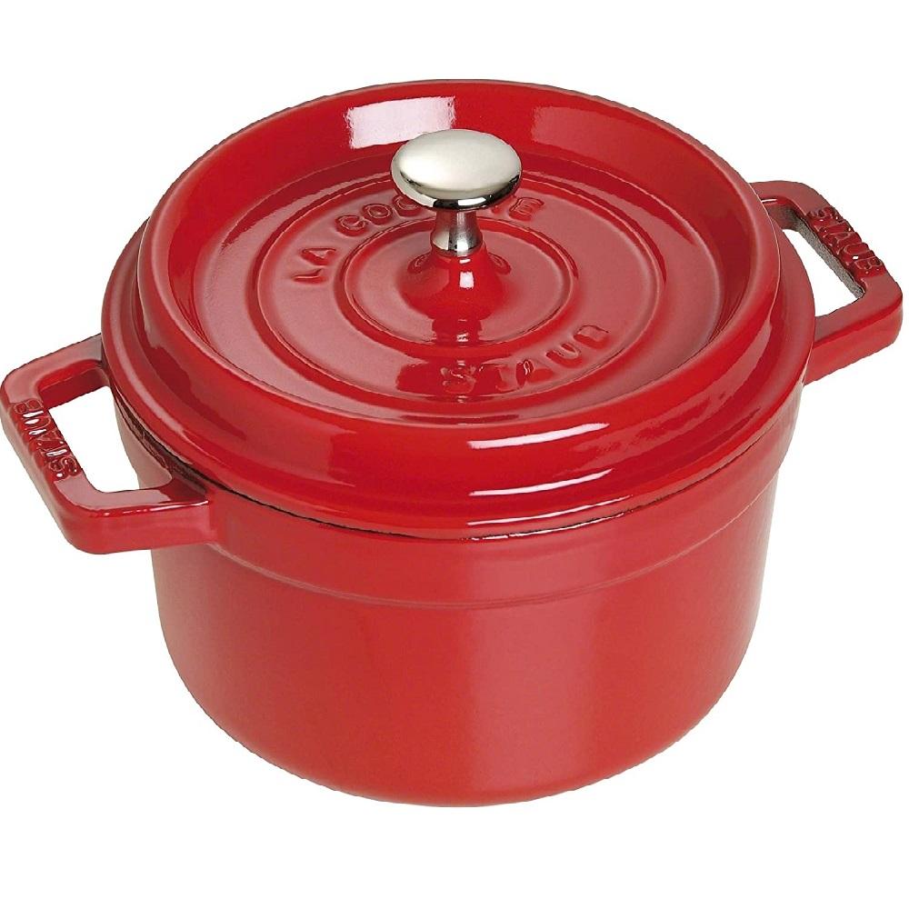 كسرولة صغيرة مستديرة، لون أحمر، حجم 10 سنتم، ستوب-Staub
