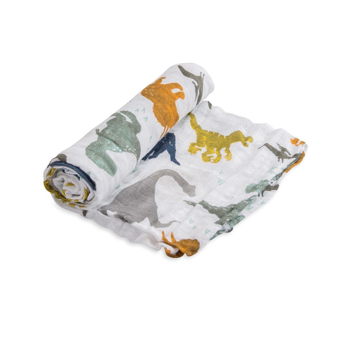 Little Unicorn Cotton Muslin Swaddle Dino Friends