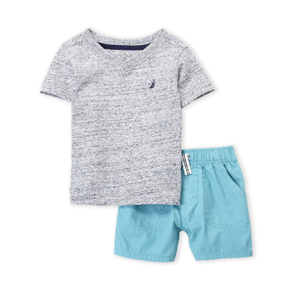 Nautica Two-Piece Grey V-Neck Tee & Shorts Set - 12mos