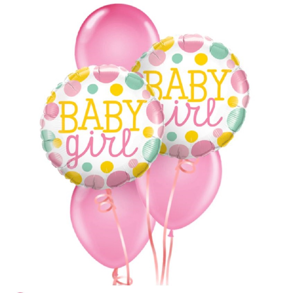Welcome Baby Girl Dots Balloon Bouquet