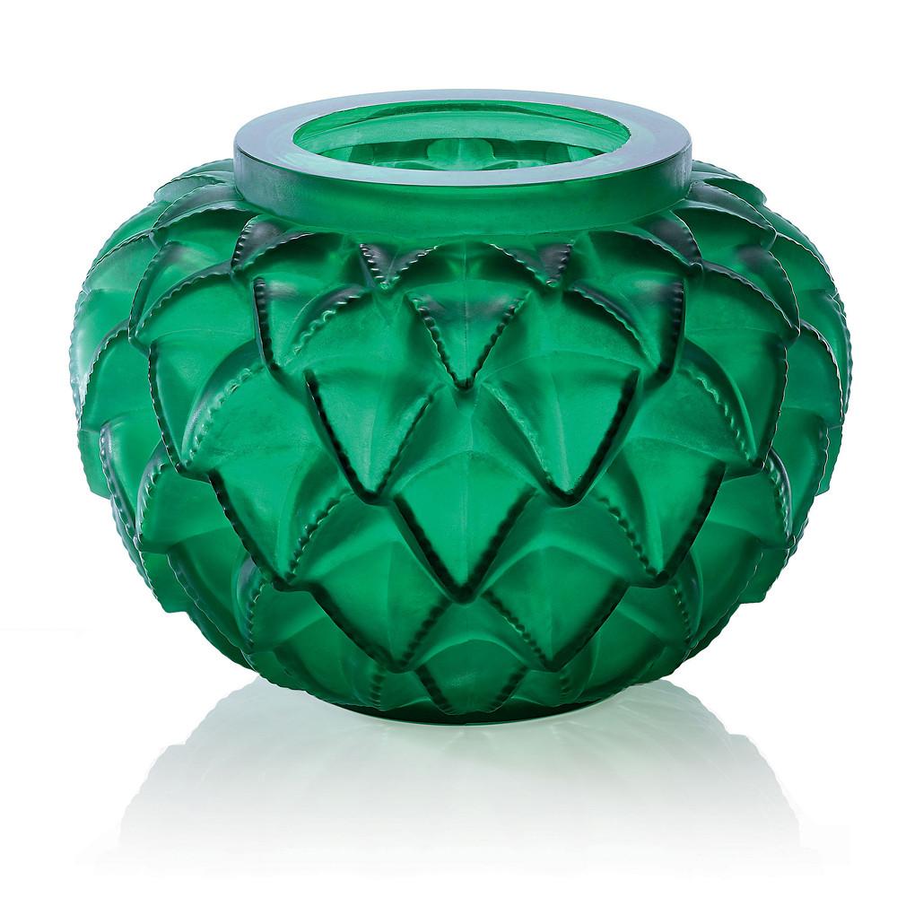 Lalique Green Vase